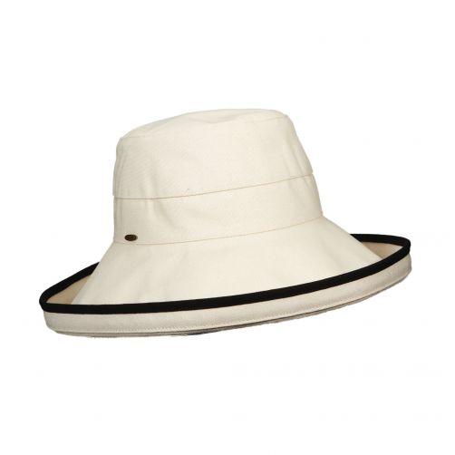 Scala---UV-katoenen-hoed-voor-dames---Gebroken-wit/Zwart