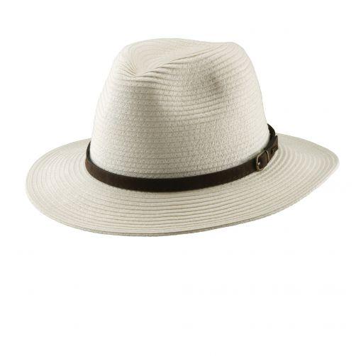 Dorfman-Pacific---Safari-gevlochten-hoed-voor-heren---Ivoor