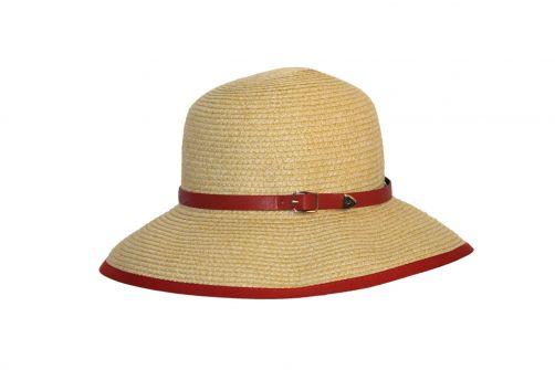 Rigon---UV-strohoed-voor-dames---Naturel-/-masala-rood