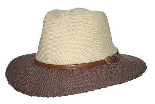 Rigon---UV-zonnehoed-voor-dames-met-riempje---Mokka-/-beige
