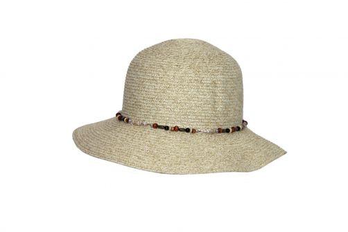 Rigon---UV-bucket-hoed-voor-dames-met-kralen---Ivoor