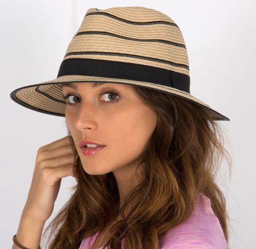 Rigon---UV-strohoed-voor-dames---Maria---Natural-/-Zwart