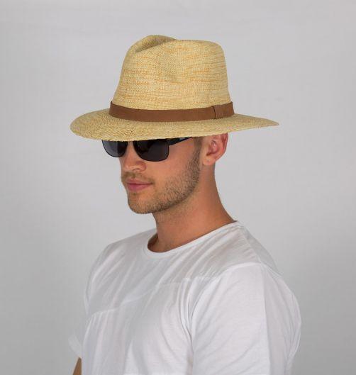 Rigon---UV-fedorahoed-voor-heren---Natural-/-chocoladebruin