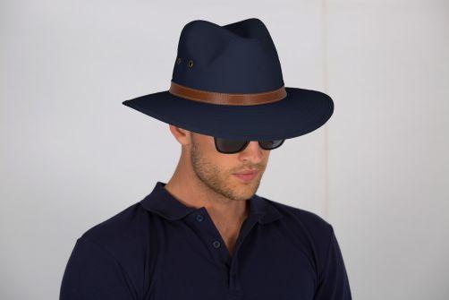 Rigon---UV-fedorahoed-voor-heren---Canvas---Navy-blauw